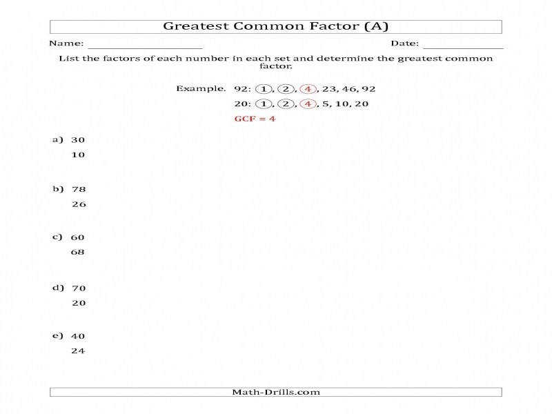 Determining Greatest mon Factors Sets Two Numbers From 4