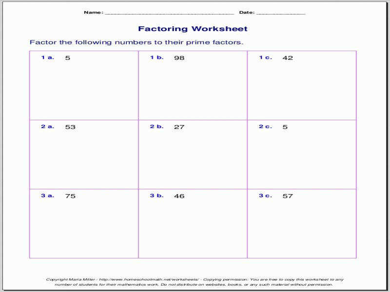 Free Worksheets For Prime Factorization Find Factors A Number
