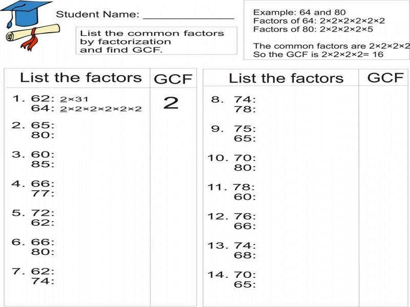 Factor Gcf Worksheet Worksheets With Exponents Full Page Graph Paper
