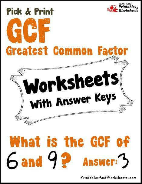 Greatest mon Factor CF Worksheets Cover