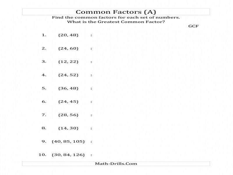 Ideas Greatest mon Factor Worksheets With Additional Free