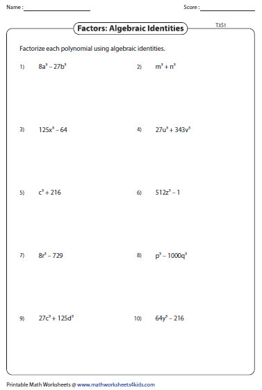 Greatest mon Factor Worksheets. Factoring ...