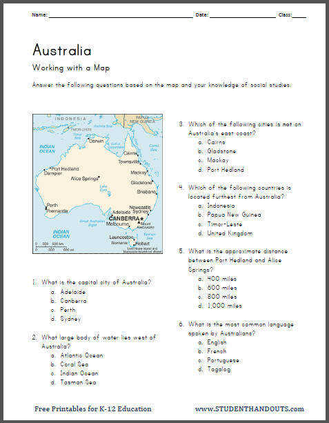 Free Printable Geography Australia Map Work Worksheet For Kids