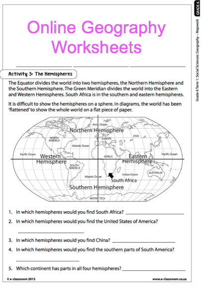 Grade 6 line Geography Worksheets Map work For more worksheets visit