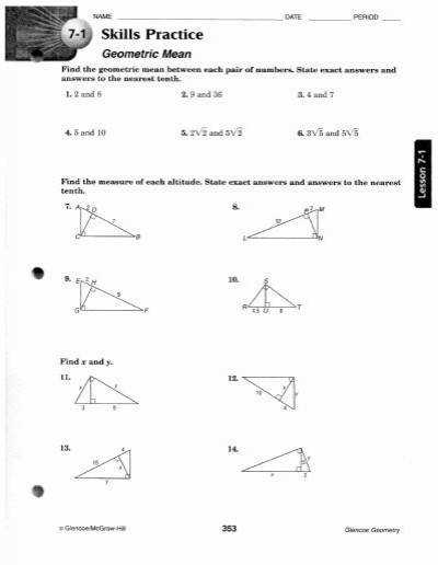 Geometric Mean Worksheet 8 1 Intrepidpath