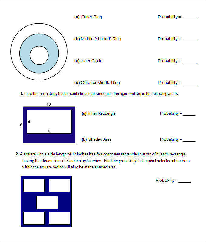 Probability High School Geometry Worksheet Template
