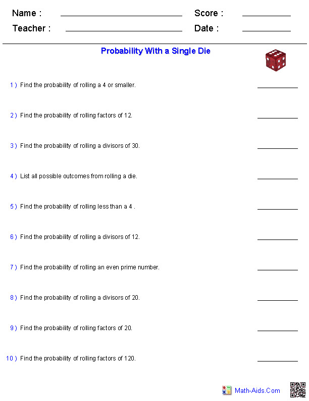 Probability Worksheets with a Single Die