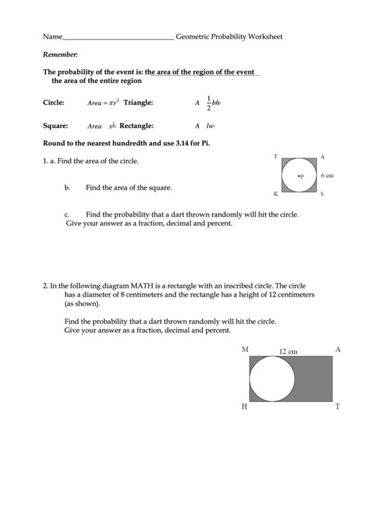 Geometric Probability Worksheet