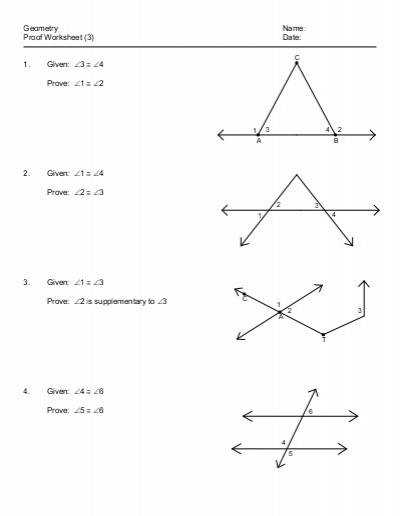 Geometric Proofs Worksheet