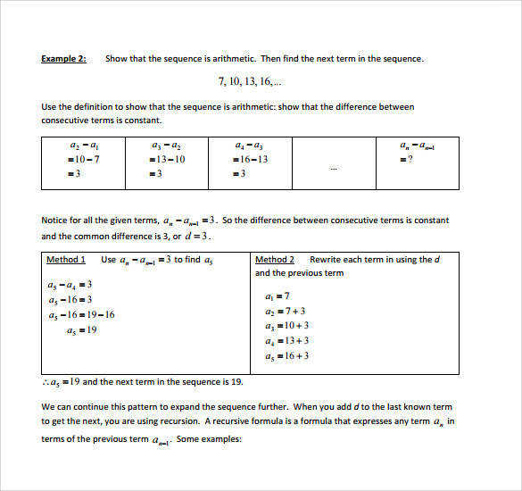 Free Worksheets sequences worksheets pdf Geometric Sequence Worksheet