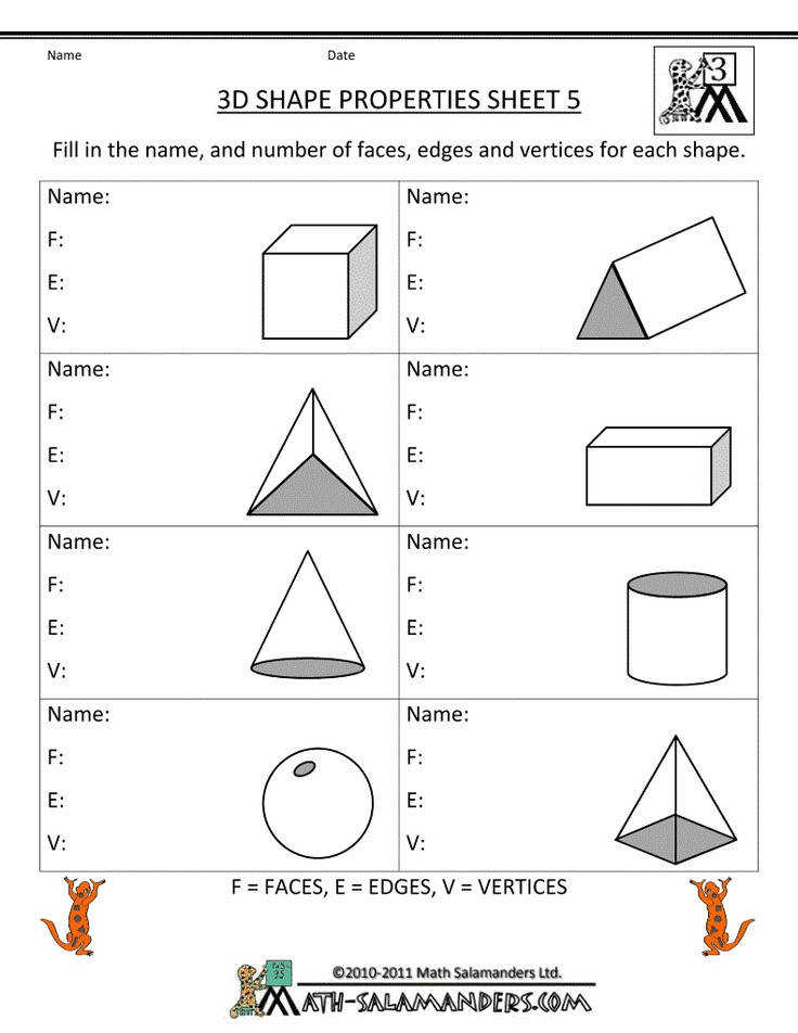 There are a range of worksheets to help children identify and learn the properties of and shapes by the Math Salamanders
