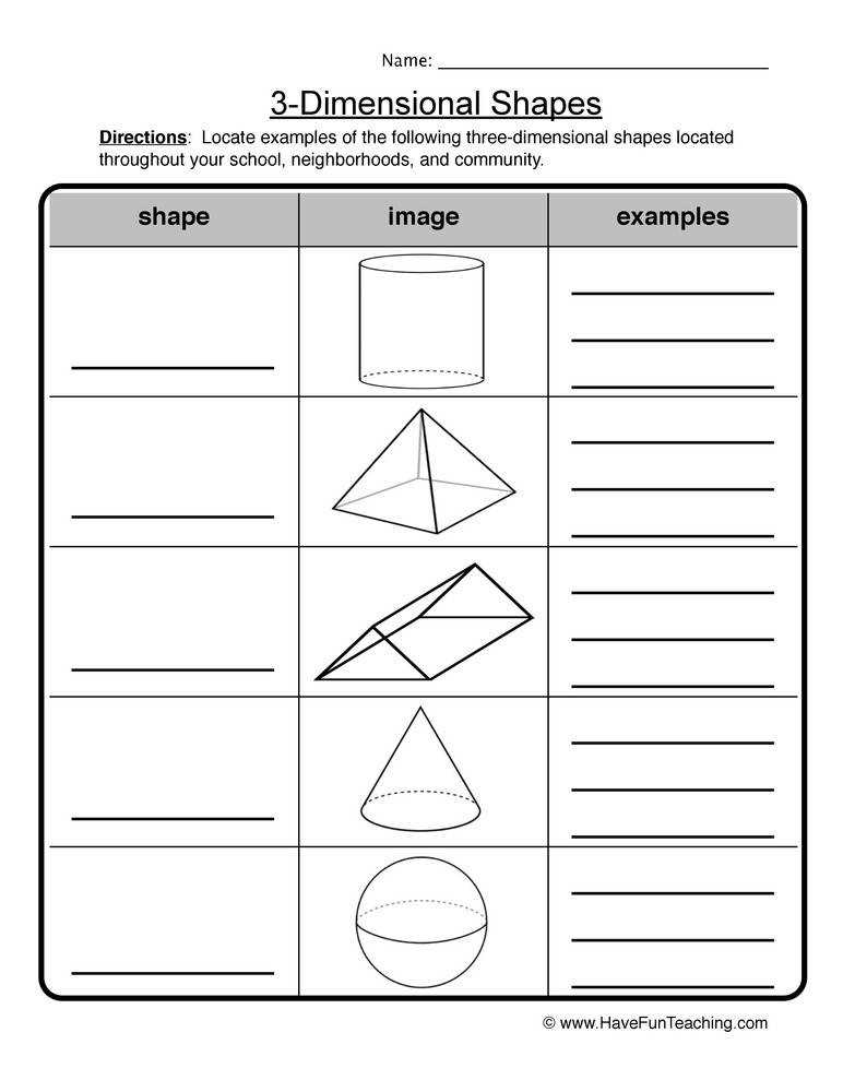 3 D shapes worksheet 2