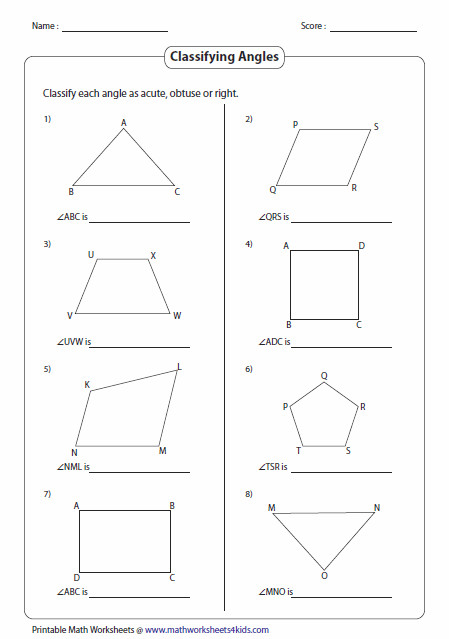 Types of Angles in Shapes