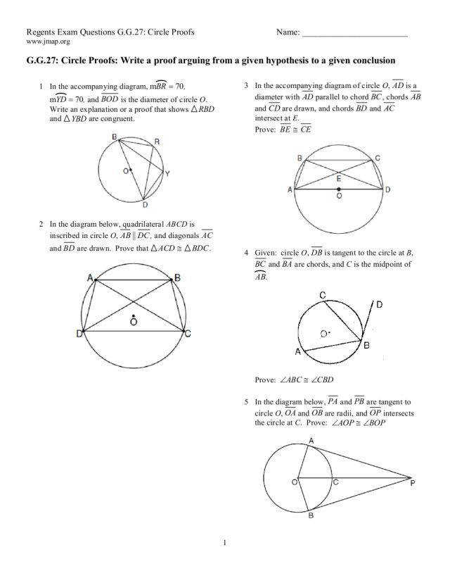 Collection of Solutions Geometry Circle Proofs Worksheets Sample