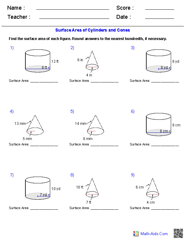These Geometry Worksheets are perfect for learning and practicing various types problems about Surface Area & Volume