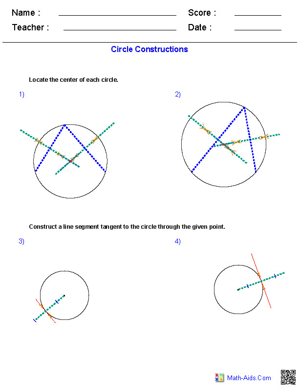 These Geometry Worksheets will create various types of problems to practice constructions of differnt geometric objects
