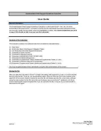 Child Support Worksheet and Schedules pdf