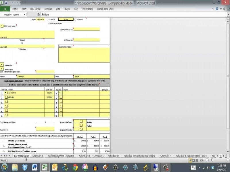 Georgia Child Support Worksheet Tutorial Part 1 – Youtube