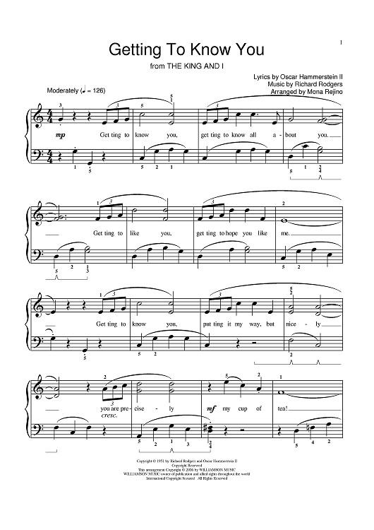 Getting To Know You Sheet Music Preview Page 1