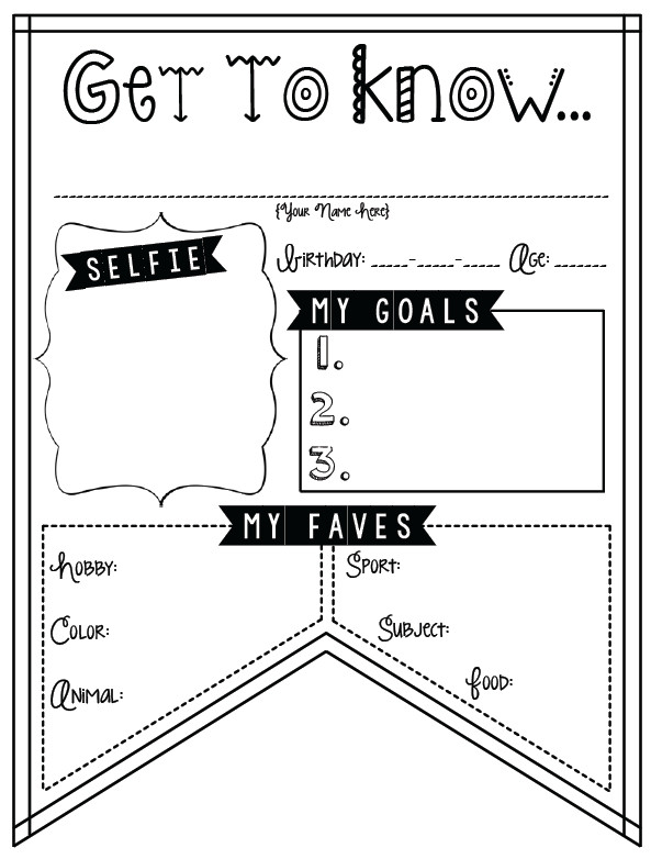 Awesome Collection of Back To School Getting To Know You Worksheets About Format