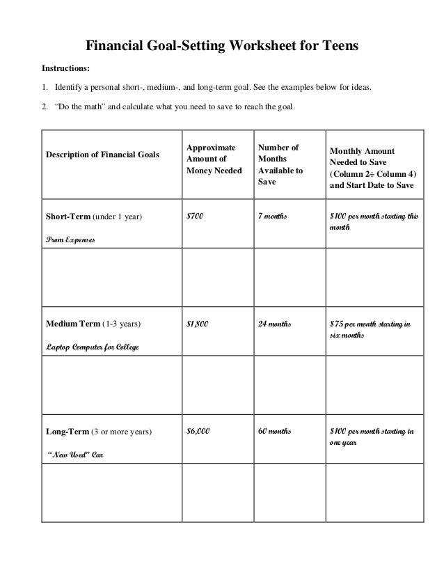 Financial Goal Setting Worksheet for Teens Instructions 1 Identify a personal short