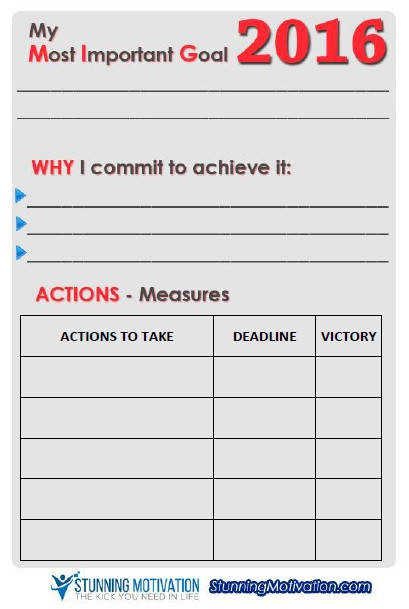 goal setting worksheet from stunningmotivation