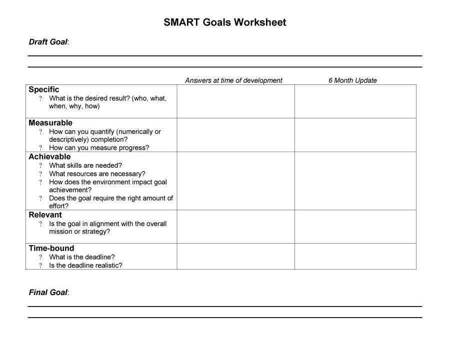 Printable Smart Goals Template 16
