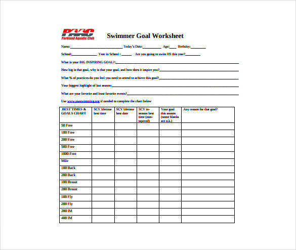 Swimmer Goal Worksheet PDF Template Free Download
