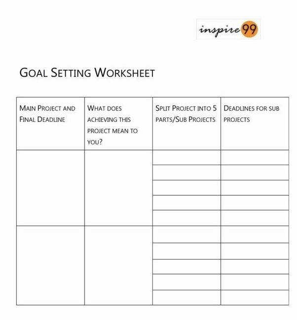 If you are looking for a PDF of the worksheet you can find it here Goal Setting Worksheet