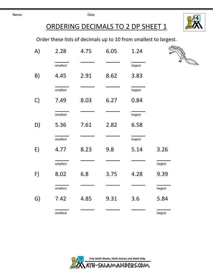Grade 4 Math Worksheets Fractions Decimals With Math Worksheets 4th Grade Ordering Decimals To 2dp
