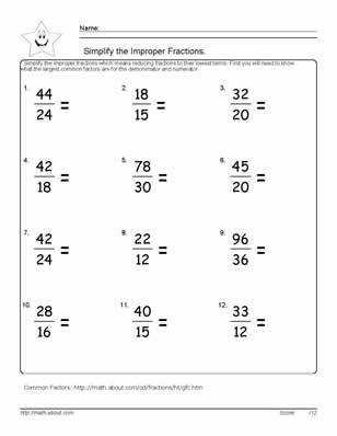 9 Worksheets on Simplifying Fractions for 6th Graders Simplifying FractionsFractions WorksheetsMath FractionsGrade 6