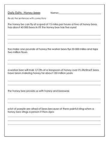 Editing Worksheet About Bees