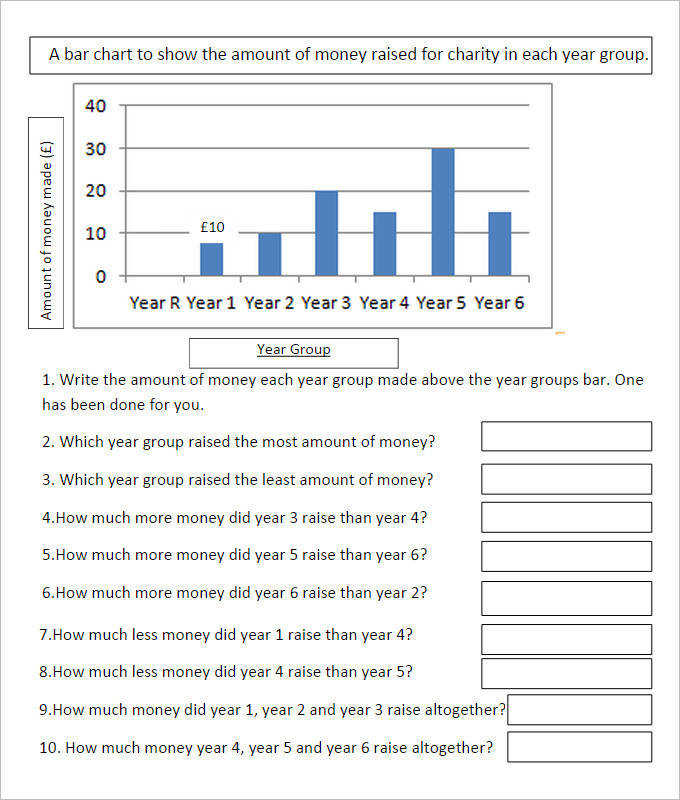 Charity Bar Graph Worksheet Template