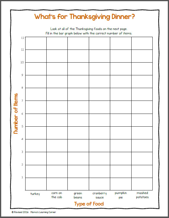 Bar Graph Worksheet Thanksgiving