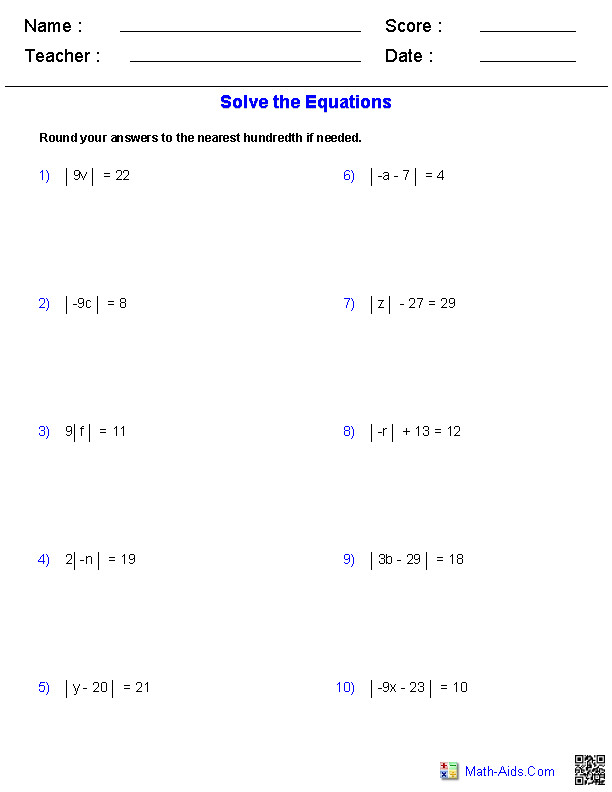 Absolute Value Equations Worksheets