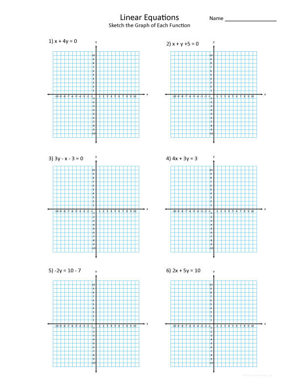 Graphing Linear Functions Worksheet The equations