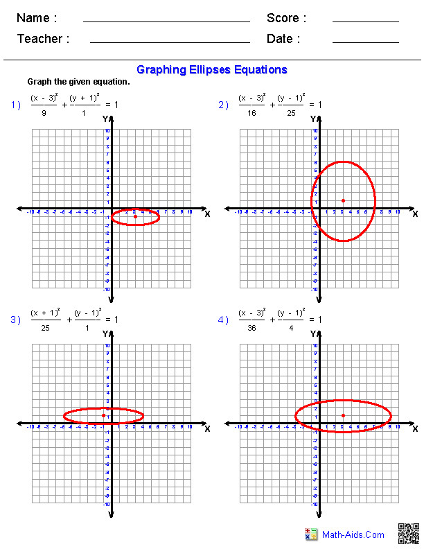 Graphing Equations of Ellipses Worksheets