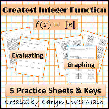 Step Function Greatest Integer Function Worksheet Graphing Evaluating