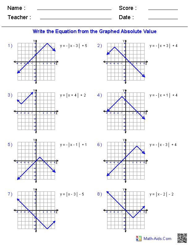 Graphing Absolute Values Functions from Equations