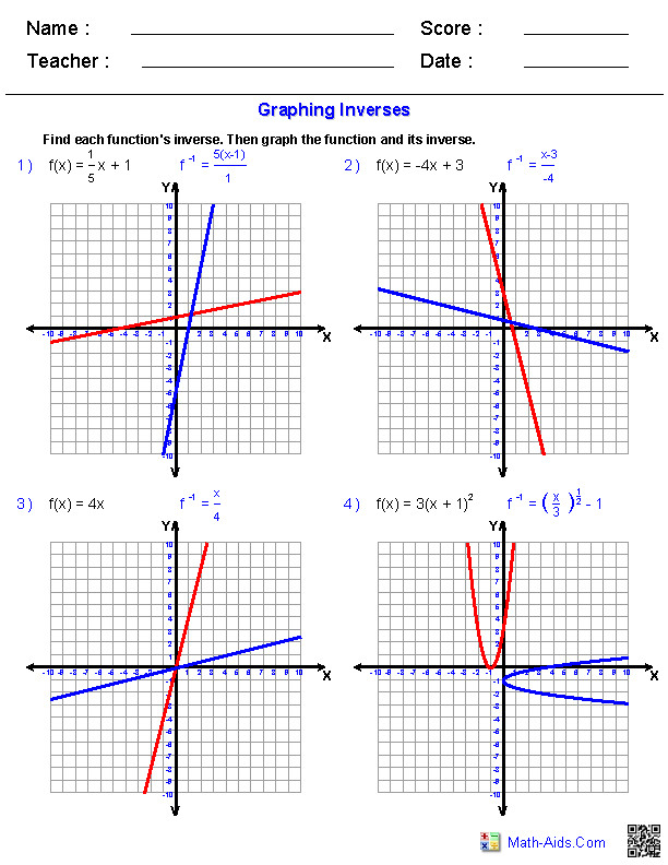 General Functions Worksheets Algebra 2 Worksheets