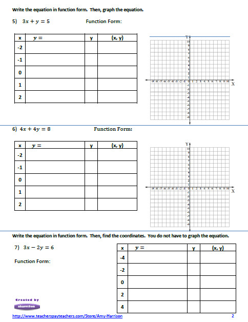 Linear Equations Worksheet – Create a Table of Values and Graph