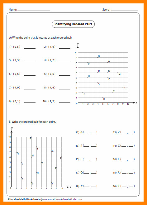 5 graphing ordered pairs worksheets