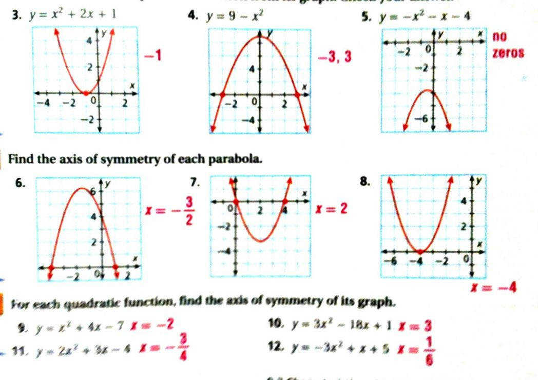 Graphing Parabolas Equations Worksheet Answers Jennarocca Quadratic Functions In Standard Form Parab Graphing Quadratics In Standard