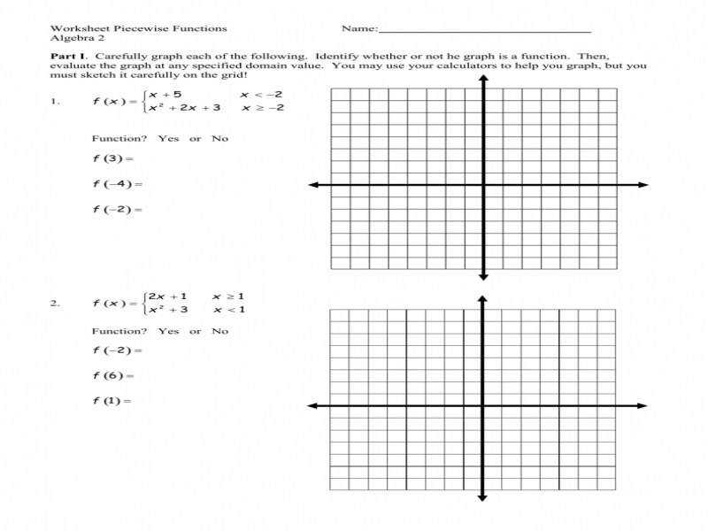 worksheet piecewise functions - Graphing Piecewise Functions Worksheet