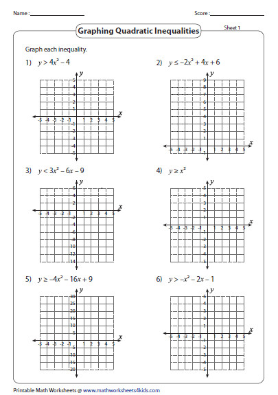 Find abundant worksheets here on solving quadratic inequalities algebraically graphically or table method Graphing quadratic inequalities also included