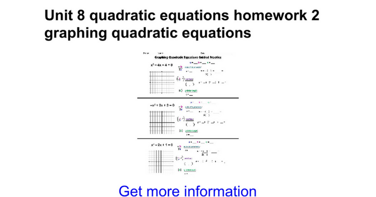 Unit 8 quadratic equations homework 2 graphing quadratic equations Google Docs