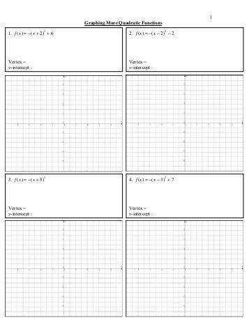 Worksheets Graphing Quadratic Functions Worksheet description of materials 5 graphing more quadratic functions worksheet