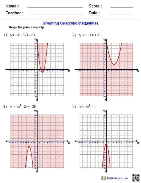 Function Worksheets Convenient Graphing Quadratic Inequalities Worksheets Math Aids
