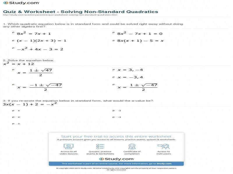 Quiz & Worksheet Solving Non Standard Quadratics