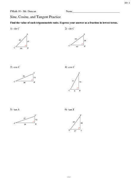 Sine Cosine and Tangent to find side length of a right triangle